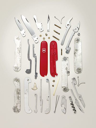 Disassembled Swiss Army Knife